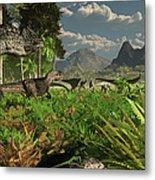 Allosaurus And Diplodocus Dinosaurs Metal Print