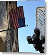 American Flag Downtown La Metal Print