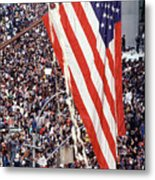 American Flag Hanging Over Crowd Metal Print