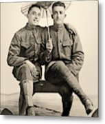 American Soldiers With A Parasol Circa 1915 Metal Print