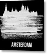 Amsterdam Skyline Brush Stroke White Metal Print