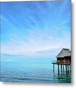An Exclusive Resort Bungalow Over A Calm Tropical Sea. Metal Print
