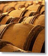 An Old Wine Cellar Full Of Barrels Metal Print