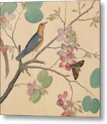 An Orange Headed Ground Thrush And A Moth On A Purple Ebony Orchid Branch, 1778 Metal Print