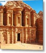 Ancient Temple In Petra, Jordan Metal Print