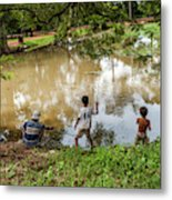 Angkor Fishing Family Metal Print
