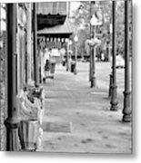 Antique Alley In Black And White Metal Print
