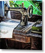 Antique Sewing Machine Metal Print