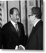 Anwar Sadat And Henry Kissinger Metal Print