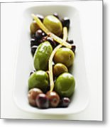 Appetizer Of Warm Marinated Olives Metal Print