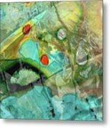 Aqua And Yellow Abstract Art - Juxtaposition - Sharon Cummings Metal Print