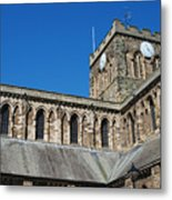 architecture of Hexham cathedral and clock tower Metal Print