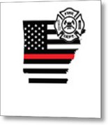 Arkansas Firefighter Shield Thin Red Line Flag Metal Print