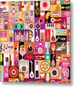 Art Collage, Musical Vector Metal Print