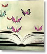 Artistic Image Of An Open Book And Metal Print