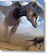 Artwork Of A Tyrannosaurus Rex Hunting Metal Print