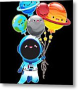 Astronaut With Planet Balloons Outta Space Metal Print
