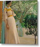 At The French Windows. The Artist's Wife Metal Print