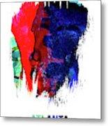 Atlanta Skyline Brush Stroke Watercolor   Metal Print
