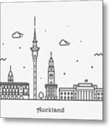 Auckland Cityscape Travel Poster Metal Print