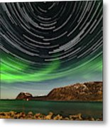 Aurora Borealis With Startrails Metal Print