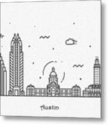 Austin Cityscape Travel Poster Metal Print