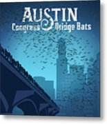 Austin Congress Bridge Bats In Blue Silhouette Metal Print
