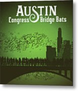 Austin Congress Bridge Bats In Green Silhouette Metal Print