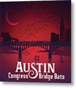 Austin Congress Bridge Bats In Red Silhouette Metal Print