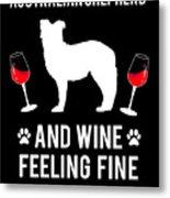 Australian Shepherd And Wine Felling Fine Dog Metal Print