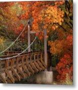 Autumn Across The Bridge  Metal Print
