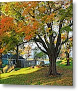 Autumn Day In The Salem Willows Salem Ma Red Metal Print