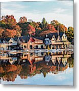Autumn Houses On The Water Metal Print