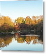 Autumn Mirror - Silky Wavelets Caused By Ducks Metal Print