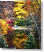 Autumn Pond With Rowboat Metal Print