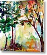 Autumn Trees Watercolors Metal Print