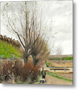 Autumn Weather. A Man With A Wheelbarrow On A Path Metal Print