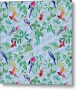 Aviary Small Scroll Periwinkle Metal Print