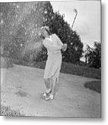 Babe Didrikson Spraying Sand With Golf Metal Print