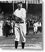 Babe Ruth Batting For Ny Yankees Metal Print