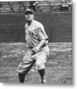 Babe Ruth In Right Field Metal Print