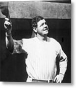 Babe Ruth Salutes The Crowd Metal Print
