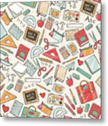 Back To School Seamless Pattern With Metal Print