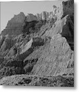 Badlands South Dakota Black And White Metal Print