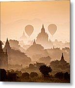 Bagan, Balloons Flying Over Ancient Metal Print