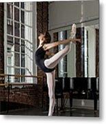 Ballerina Performing Attitude In Dance Metal Print