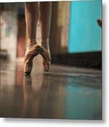 Ballerina Standing In Ballet Shoes Metal Print