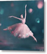 Ballet Dancer Pink And Peacock Blue Metal Print