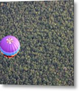 Balloon Over Forest Metal Print
