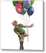 Balloons And Happy Guy Metal Print